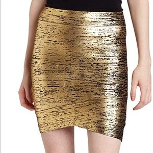 """NEW! BCBG """"Silvie"""" Cross Hem Gold Mini Skirt XXS"""